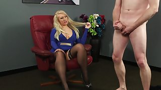Clothed blonde is surprises to feel such dick up her hooves