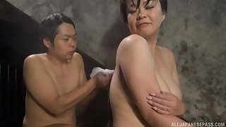 Chubby Japanese girl gets licked wits a stranger hither the pool